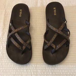 Teva brown Size 11 flip flop wedge sandals